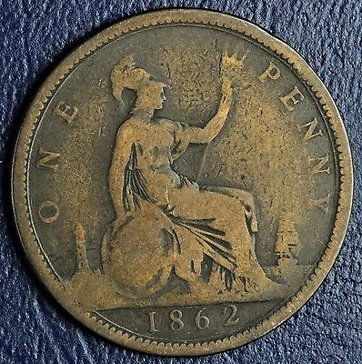 1862 Great Britain One Penny Coin * Victoria *