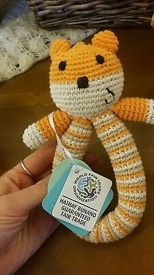 fair trade knitted baby rattle
