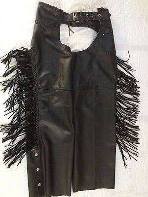 Barneys Vintage Womens Black Leather Motorcycle Chaps - Size XL