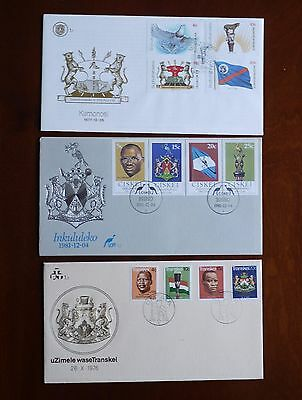 South Africa homelands three first issue FDCs