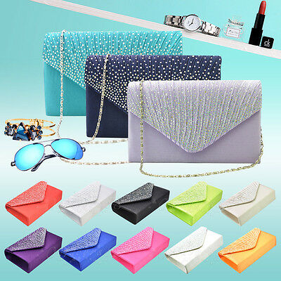 Womens Satin Diamante Envelope Box Clutch Bag Evening Wedding Prom Handbag