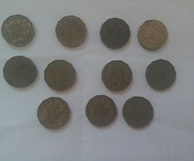 Old English three pence Coins