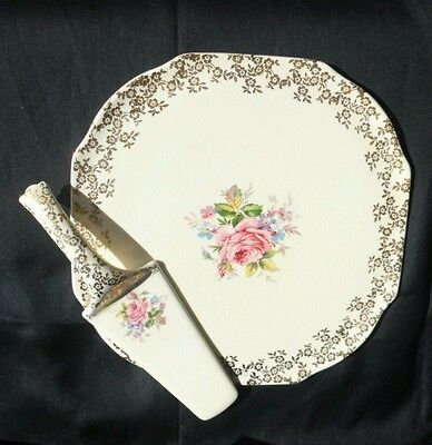 Lord Nelson Vintage Elijah Cotton Cake plate and Cake Server England Wedding