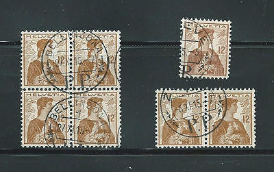 Seven Used 1908 Switzerland 12c Stamps (SG 251)