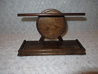 VINTAGE ANTIQUE OAK WOODEN PIPE STAND TALLENT of Old Bond Street Made in England