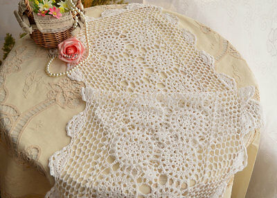 "51"" Graceful White Country Hand Crocheted Lace Table Runner"