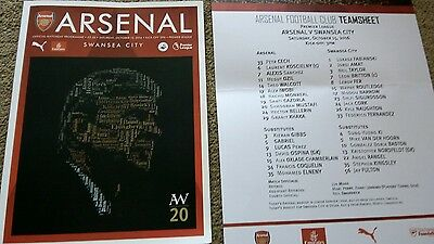 Arsenal V Swansea Limited Edition Programme And Teamsheet Oct 15Th 2016