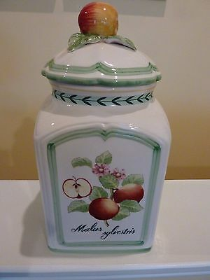 VILLEROY & BOCH Large Canister~FRENCH GARDEN CHARM~Malus Sylvestris~MINT CONDT.