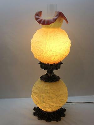 Fenton Embossed Poppy Flower Burmese Glass Gone With The Wind Parlor Lamp GWTW