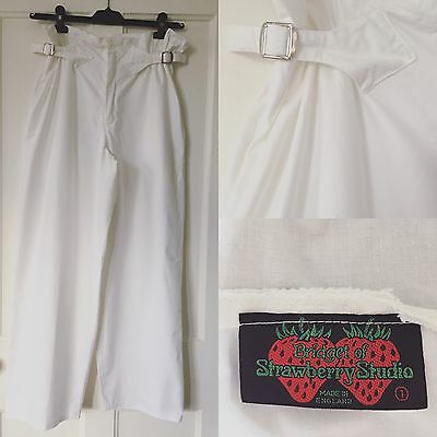 Vintage Late 1970s White Cotton Trousers By Bridget Of Strawberry Studio M