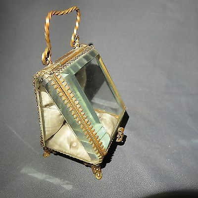 AN EARLY 20th CENTURY BRASS/GLASS  POCKET WATCH STAND