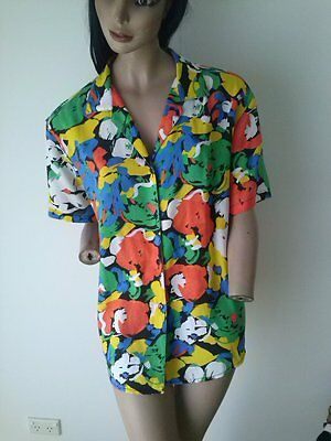 """Vintage 80s Katies """"Matisse"""" patterned s/s shirt size 12"""