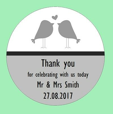 105 Personalised Round Wedding Stickers/Labels Envelopes Seals Heart Rings Birds