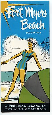 VINTAGE 1950's-1960's FORT MYERS BEACH FLORIDA TRAVEL BROCHURE
