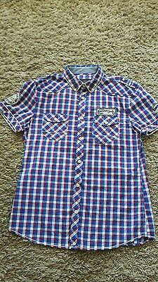 NEW Striking red white & blue mens shirt with lots of detail  size L