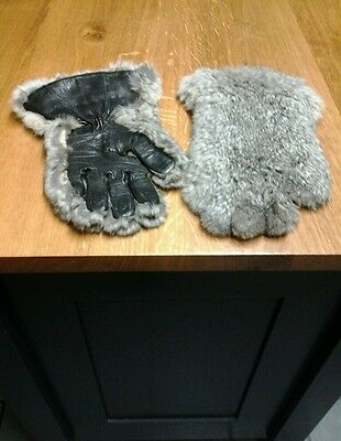 Vintage Fur & Leather Gloves..Sz  Small to Medium unique.. Stunning