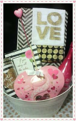 Valentine's Day Gift Basket With Candy And Wine