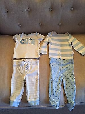 Baby Boys Pjs X 2 Top And Bottoms Pyjamas Nighttime 3-6 Months Stars And Stripes