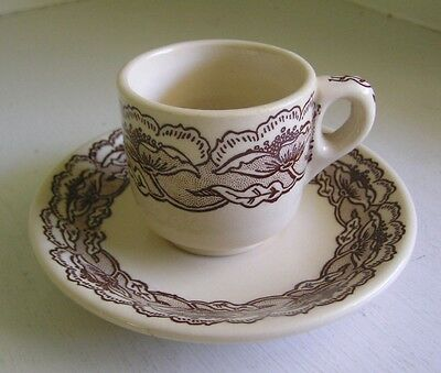 Wallace China California Poppy Espresso Demitasse Cup and Saucer
