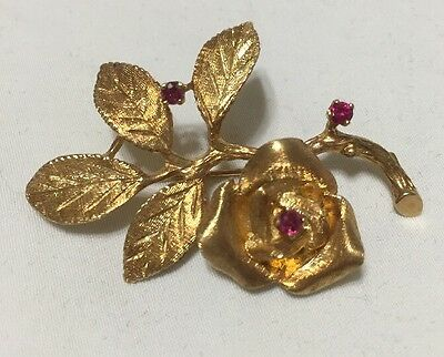 Vintage 14k Gold & Ruby Floral Brooch  Fine Jewelers Guild Mint Condition 10g
