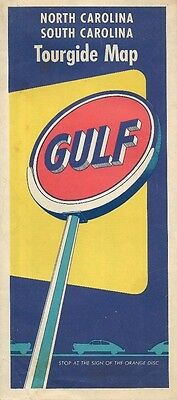 1953 GULF OIL Road Map NORTH + SOUTH CAROLINA Great Smoky Mountains Gas Station