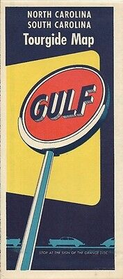 1953 GULF OIL Road Map NORTH + SOUTH CAROLINA Great Smoky Mountains Rest Rooms