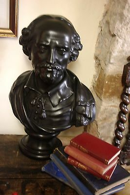 Large Vintage Bronze Effect Bust Of Shakespeare, After Louis Francois Roubiliac