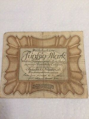 GERMANY - Reichsbanknote Funfzig Mark 1918