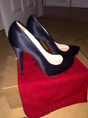 Christian Louboutin Rolando 120 Black Crepe Satin UK 5 Eu 38