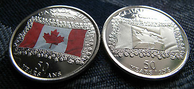 Canada 2015 25 Cent 50th Anniversary of Canadian Flag Colour & Non-Colour