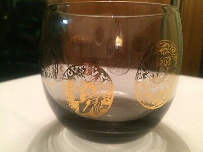 Vtg MCM Barware HIBALL bar TUMBLER Drinking GLASS with gold coin deco