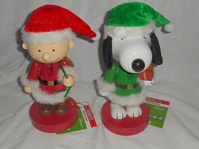 Lot Of 2 New W Tags Peanuts Wooden Nutcrackers Snoopy & Charlie Brown Cute!