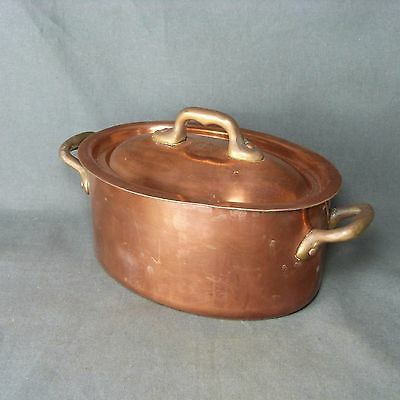 French Antique Massive Copper Oval Cooking Pot with Lid Tin Lined MADE IN FRANCE