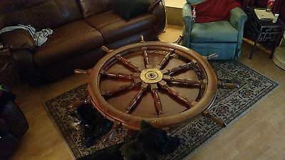 Large Antique Brass and Wood Ship Wheel, 60 inches from spoke to spoke