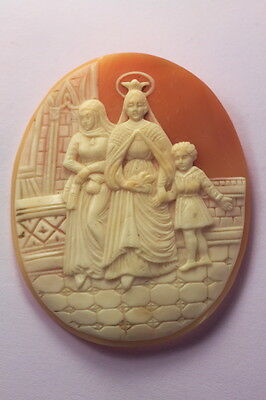 ANTIQUE VICTORIAN ITALIAN NATURAL SHELL CAMEO FAMILY PORTRAIT c1860 UNMOUNTED