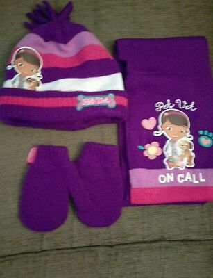 Doc McStuffins Hat, Scarf and Gloves set 1-3yrs