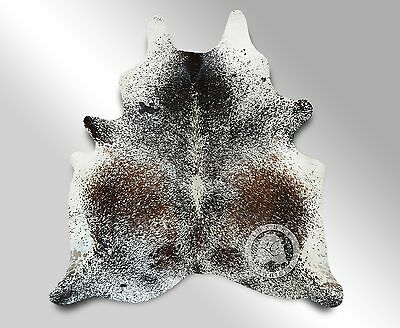 New Brazilian Cowhide Rug Leather SALT AND PEPPER 6'x6' Cow Hide