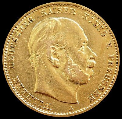 1880 A Gold Prussia German States 10 Mark Wilhelm I Coin About Uncirculated
