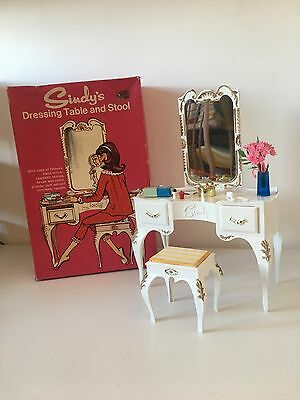 Rare Vintage Sindy 1960s Dressing Table and Stool Set Boxed Complete Furniture