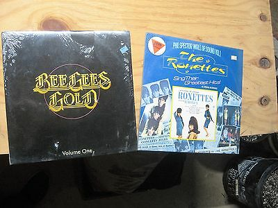 Lot Of Two Vintage Unopened Lp Albums Bee Gees Gold Ronettes Greatest Hits