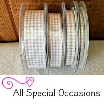 Berisfords 7391 Gingham Check SILVER GREY Colour 18 Ribbon Small Check 5mm