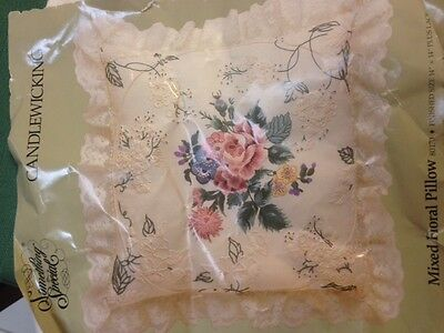 Mixed Floral Pillow Candlewicking kit, partially started