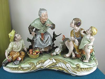 """Large Capodimonte Figure Group """"once Upon A Time""""  By Bruno Merli"""
