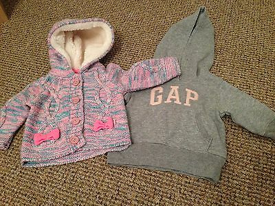 Baby Girls Gap Jumper Hoodie And Cardigan 3-6 Months