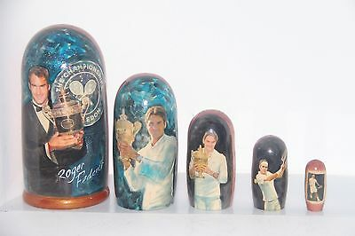 RUSSIAN DOLL Roger Federer Tennis Sport Nesting Doll UNIQUE ITEM IN THE WORLD