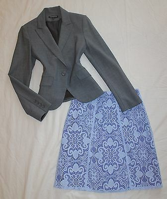EXPRESS Size 0 / 2 Women's Skirt Suit Gray & Blue PERFECT