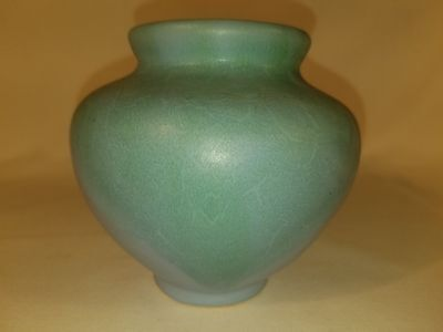 """CAMARK Signed Arts & Crafts Pottery Matte Drip Glaze Vase 4 1/2"""" tall by 5"""" wide"""