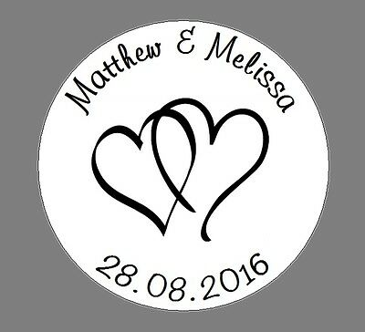 105 Personalised Round Wedding Stickers/Labels Envelopes Seals Heart Ring 35mm