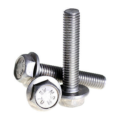10mm M10 A2 STAINLESS STEEL FLANGED HEX HEAD BOLTS FLANGE HEXAGON SCREWS DIN6921