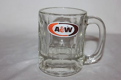 Vintage A&W Root Beer Mug Cup Clear Glass Brown and Orange Logo